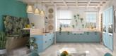 Landhausküche hellblau U-Küche