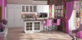 Landhausküche, weiß, Glasfront, Bartresen