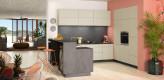 Küche grau, U Küche, grifflos