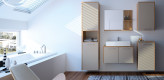 Badezimmer, modern, zeitlos, beige, Holz